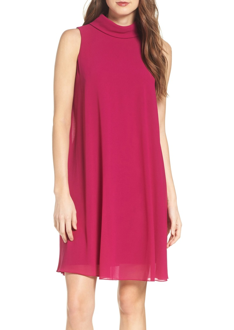 Vince Camuto Mock Neck Chiffon Trapeze Dress