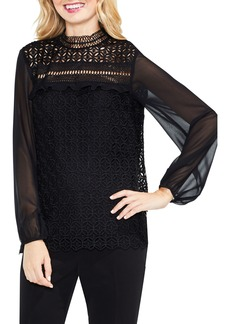 Vince Camuto Mock Neck Geo Lace Top