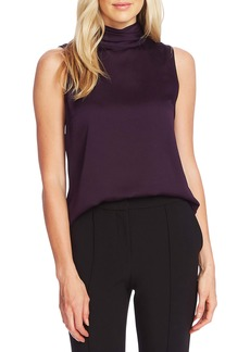 Vince Camuto Mock Neck Hammered Satin Sleeveless Top