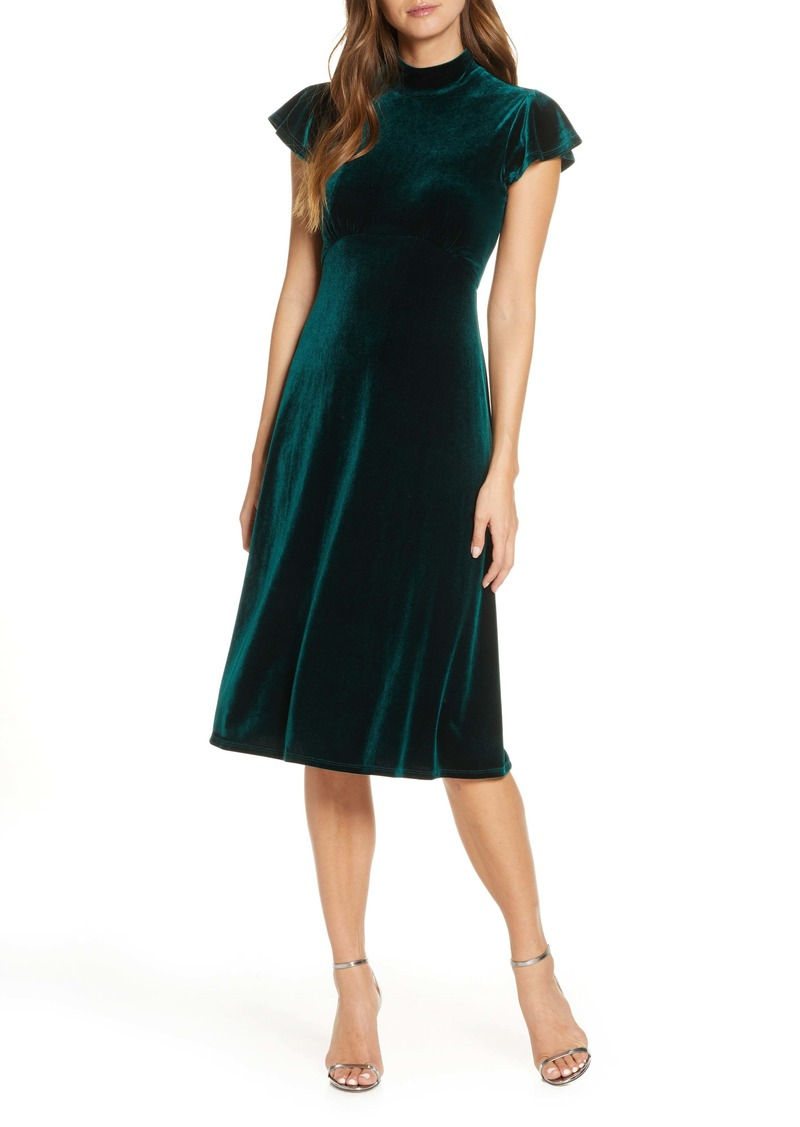 Vince Camuto Mock Neck Velvet Dress