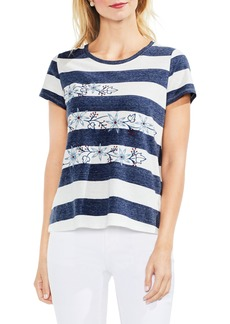 Vince Camuto Modern Bold Stripe Embroidered Tee
