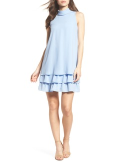 Vince Camuto Moss Crepe Roll Neck Ruffle Dress