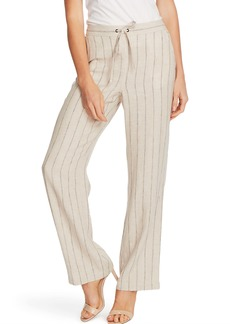 Vince Camuto Natural Stripe Linen Blend Drawstring Pants