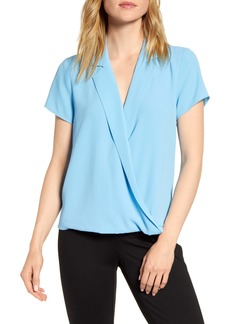 Vince Camuto Notch Collar Wrap Front Blouse