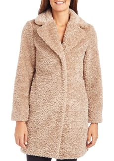 VINCE CAMUTO Notched Collar Faux-Fur Coat