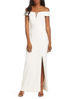 Vince Camuto Notched Off the Shoulder Crepe Gown (Regular & Petite)
