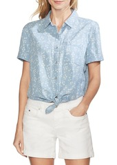 Vince Camuto Oasis Bloom Floral Tie Front Shirt