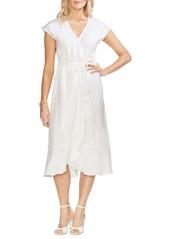 Vince Camuto Oasis Bloom Linen Faux-Wrap Dress