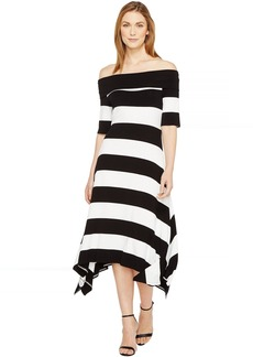 Vince Camuto Off Shoulder Cuban Stripe Sharkbite Dress