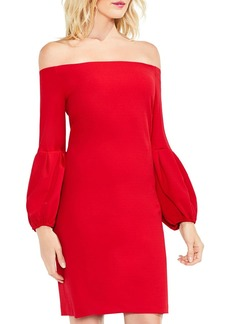 VINCE CAMUTO Off-the-Shoulder Balloon Sleeve Dress