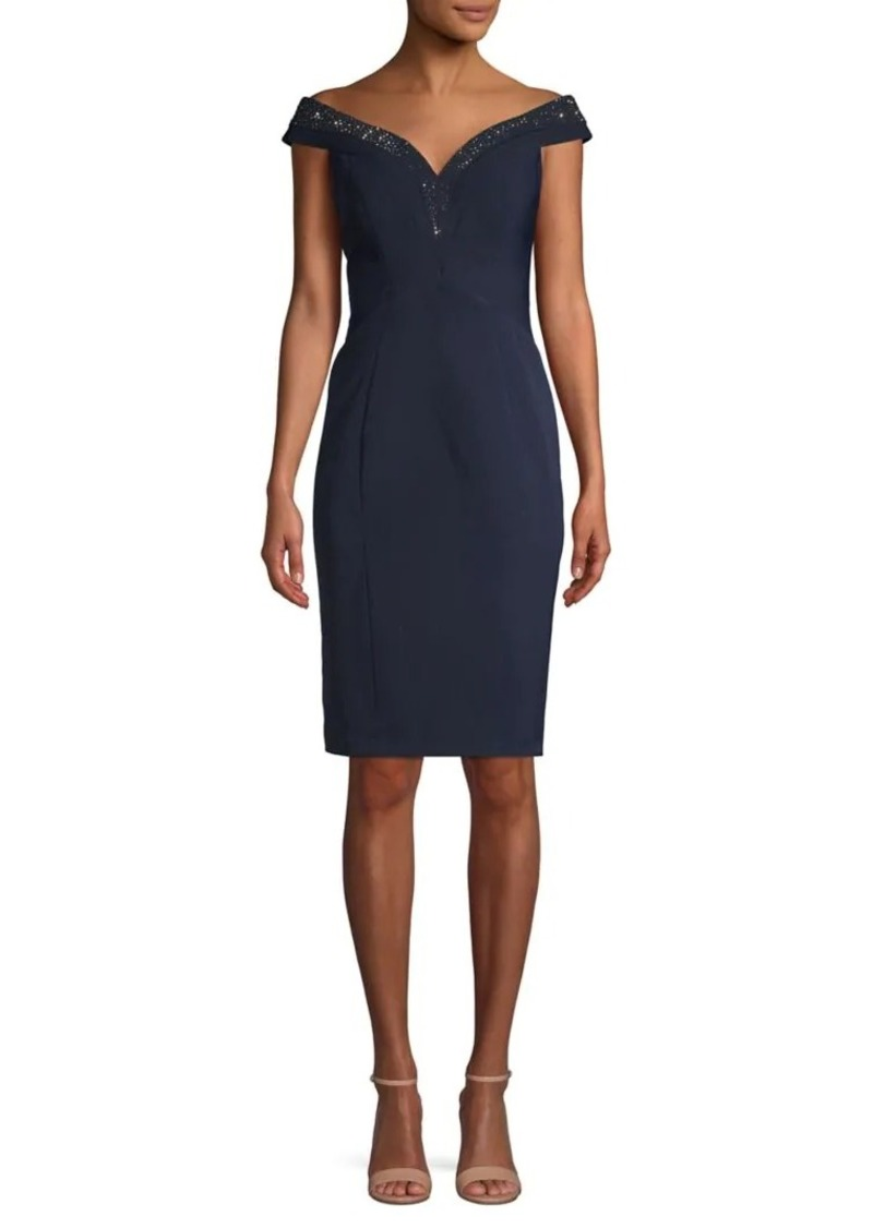 Vince Camuto Off-the-Shoulder Beaded Sheath Dress