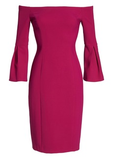 Vince Camuto Off the Shoulder Bell Sleeve Sheath Dress