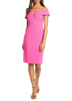 Vince Camuto Off the Shoulder Crepe Sheath Dress