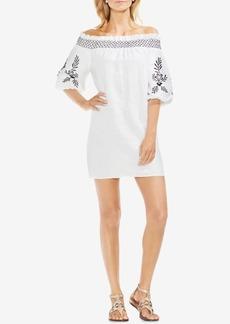 Vince Camuto Off-The-Shoulder Embroidered Linen Dress