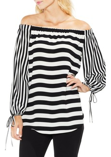 Vince Camuto Off the Shoulder Even Stripe Bubble Sleeve Top