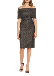 Vince Camuto Off the Shoulder Jacquard Cocktail Dress
