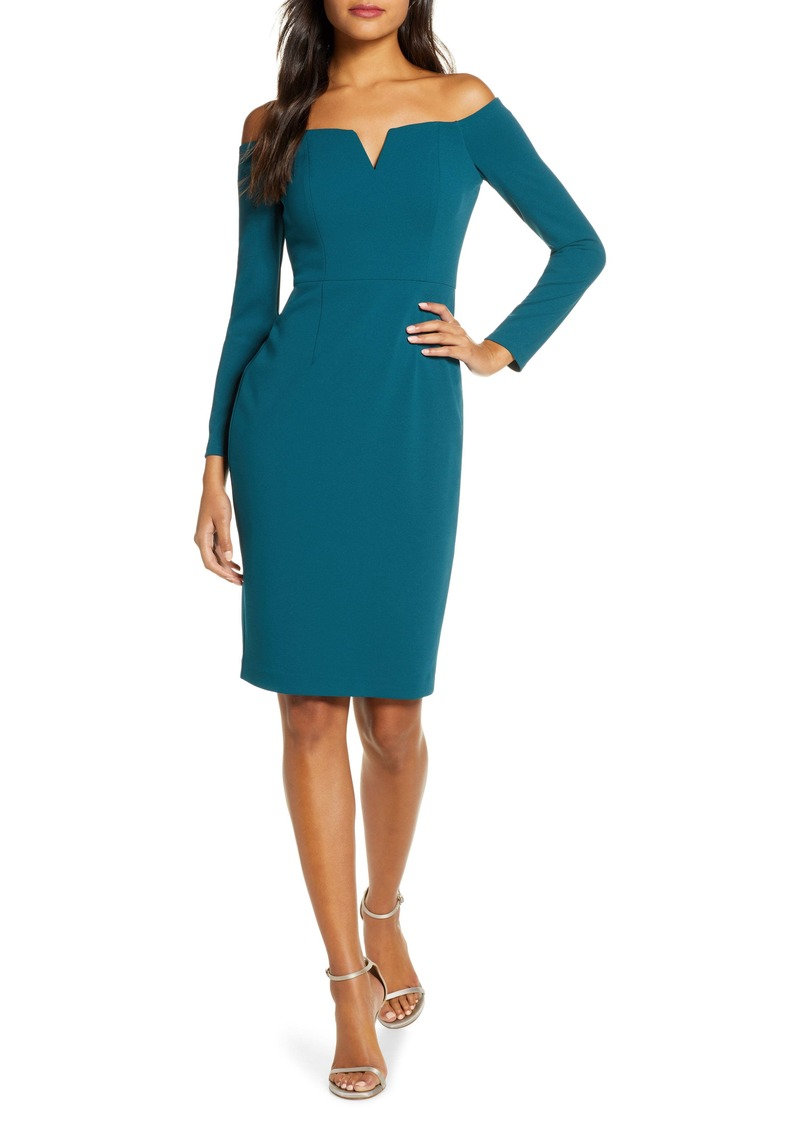 Vince Camuto Off the Shoulder Long Sleeve Sheath Dress