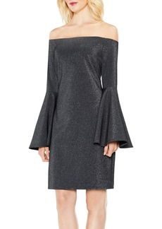 Vince Camuto Off the Shoulder Metallic Knit Dress
