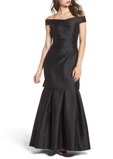 Vince Camuto Off the Shoulder Mikado Mermaid Gown