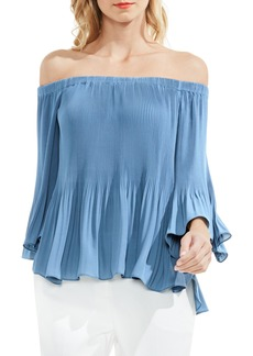 Vince Camuto Off the Shoulder Plissé Blouse