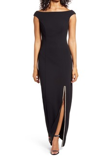 Vince Camuto Off the Shoulder Rhinestone Slit Scuba Crepe Gown