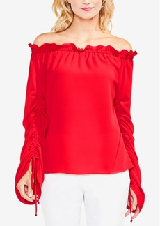Vince Camuto Off-The-Shoulder Ruched-Sleeve Top