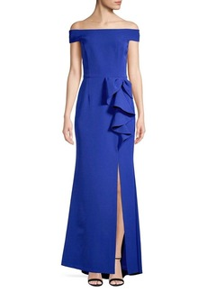 Vince Camuto Off-the-Shoulder Ruffle Front Gown