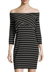 Vince Camuto Off-the-Shoulder Sailor-Stripe Minidress