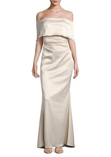 VINCE CAMUTO Off-the-Shoulder Satin Trumpet Gown