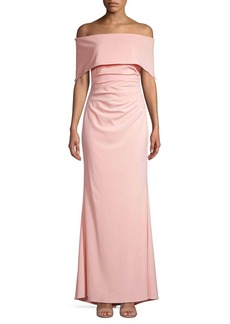 Vince Camuto Off-The-Shoulder Overlay Gown