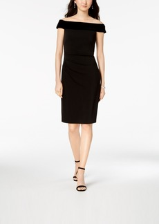 Vince Camuto Off-The-Shoulder Velvet-Contrast Dress