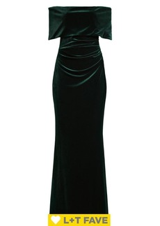 Vince Camuto Off-The-Shoulder Velvet Ruched Gown