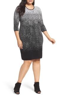 Vince Camuto Ombré Jacquard Sweater Dress (Plus Size)