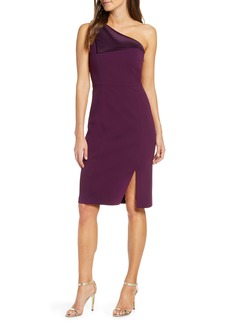 Vince Camuto One-Shoulder Crepe Sheath Dress