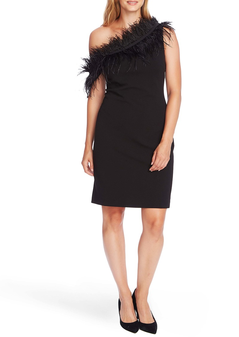 Vince Camuto One-Shoulder Feather Trim Cocktail Dress