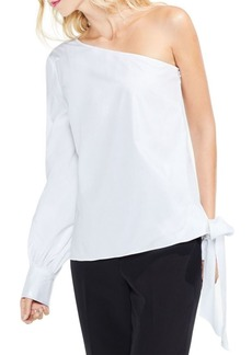 Vince Camuto One-Shoulder Long-Sleeve Side Tie Poplin Blouse