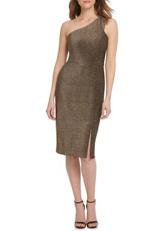 Vince Camuto One-Shoulder Metallic Knit Body-Con Dress