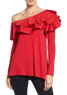 Vince Camuto One-Shoulder Ruffle Mix Top