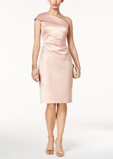 Vince Camuto One-Shoulder Satin Sheath Dress