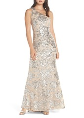 Vince Camuto One-Shoulder Sequin Chiffon Evening Dress