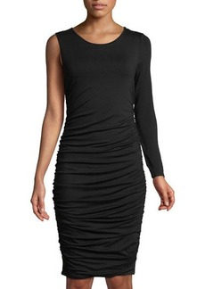 Vince Camuto One-Sleeve Side-Ruched Midi Dress