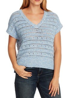Vince Camuto Open Stitch Cotton Blend Short Sleeve Sweater