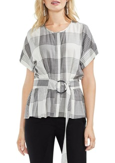 Vince Camuto Oversized Plaid Belted Blouse
