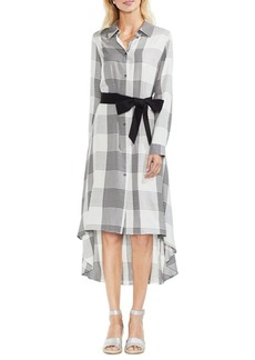 Vince Camuto Oversized Plaid Belted Shirtdress