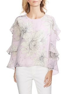 Vince Camuto Pagoda Blossoms Tiered Ruffle Sleeve Blouse