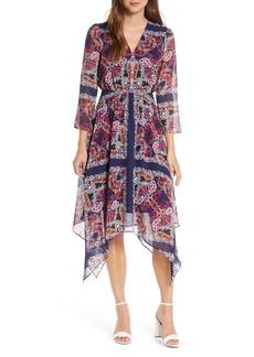 Vince Camuto Paisley Handkerchief Hem Midi Dress