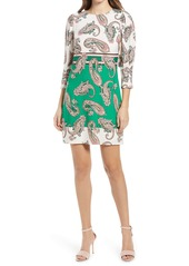 Vince Camuto Paisley Mix Long Sleeve Dress