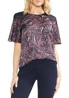 Vince Camuto Paisley Muse Chiffon Shoulder Blouse (Regular & Petite)