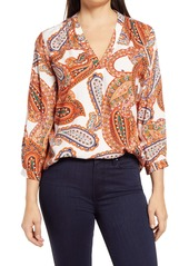 Vince Camuto Paisley V-Neck Top