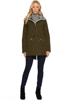 Vince Camuto Parka with Drawstring Waist and Heathered Ponti Detail N8011